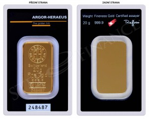 Zlatý investiční slitek 20 g Argor-Heraeus