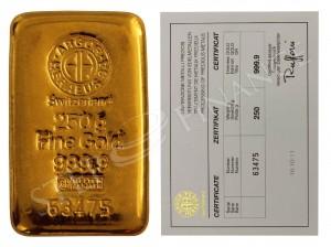 Zlatý investiční slitek 250 g Argor-Heraeus