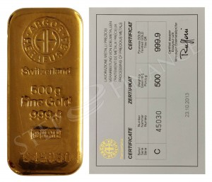 Zlatý investiční slitek 500 g Argor-Heraeus
