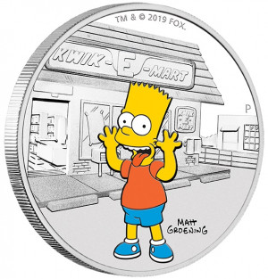 Stříbrná mince Simpsonovi - Bart 1 oz proof 2019