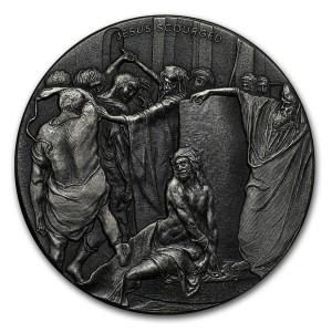 Stříbrná mince Biblická série Bičování Krista 2 oz 2018