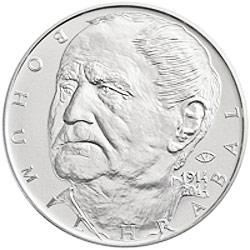 Stříbrná mince 100. výročí narození Bohumila Hrabala b.k.