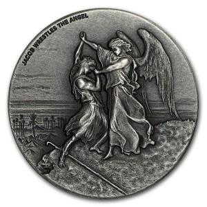 Stříbrná mince Biblická série Boj Jakoba s andělem 2 oz 2017