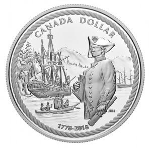 Stříbrná mince Kapitán James Cook na Nootka Sound 2018