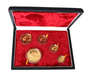 Sada 5 zlatých mincí Čínská panda 1,9 oz proof 1987