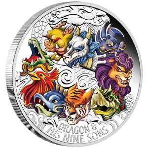 Stříbrná mince Drak a jeho 9 synů 5 oz proof