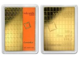 Zlatý investiční slitek CombiBar 100 x 1 g Valcambi