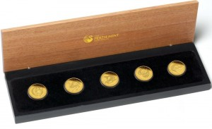 Sada 5 zlatých mincí Discover Australia 2011 5 x 1/2 oz