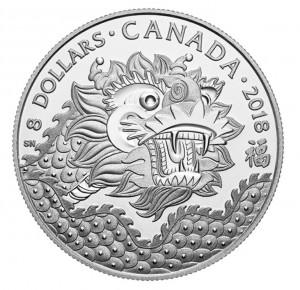Stříbrná mince Drak štěstí 1/4 oz proof 2018