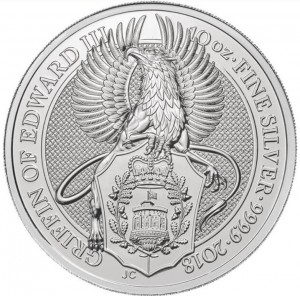 Stříbrná mince The Queen's Beasts Griffin of Edward III. 10 oz