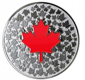 Stříbrná mince Maple Leaf planoucí srdce 1/4 oz proof 2018
