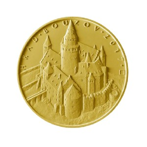 Zlatá mince hrad Bouzov 1/2 oz b.k.