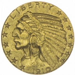 Zlatá mince 5 Dolar Indián (1908-1929)