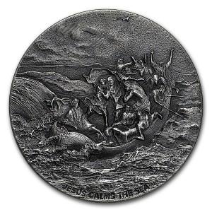 Stříbrná mince Biblická série Ježíš a moře 2 oz 2017