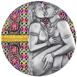 Stříbrná mince Kama Sutra 3 Oz antique finish 2019