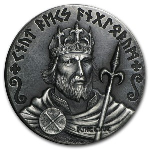 Střírbná mince Série Vikingové Knut Veliký 2 oz