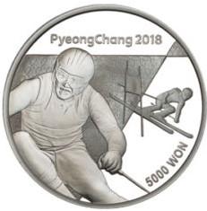 Stříbrná mince ZOH PyeongChang 2018 Alpské lyžování 1/2 oz