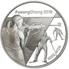 Stříbrná mince ZOH PyeongChang 2018 Biatlon 1/2 oz