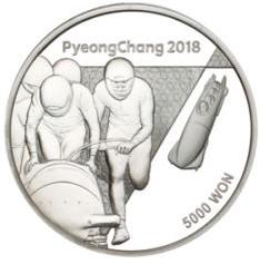 Stříbrná mince ZOH PyeongChang 2018 Boby 1/2 oz