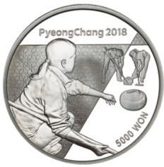 Stříbrná mince ZOH PyeongChang 2018 Curling 1/2 oz