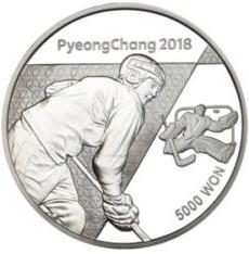 Stříbrná mince ZOH PyeongChang 2018 Lední hokej 1/2 oz