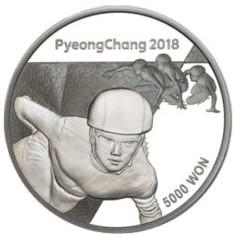 Stříbrná mince ZOH PyeongChang 2018 Short Track 1/2 oz