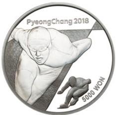 Stříbrná mince ZOH PyeongChang 2018 Rychlobruslení 1/2 oz