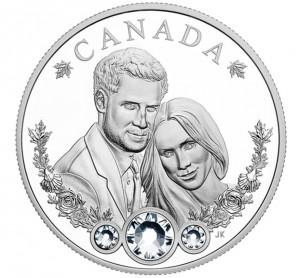 Stříbrná mince Královská svatba s krystaly Swarovski 1 oz proof 2018