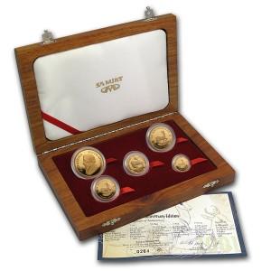 Sada 5 zlatých mincí Krugerrand 2,1 oz proof 2001