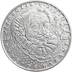 Stříbrná mince Kryštof Harant z Polžic a Bedružic b.k..