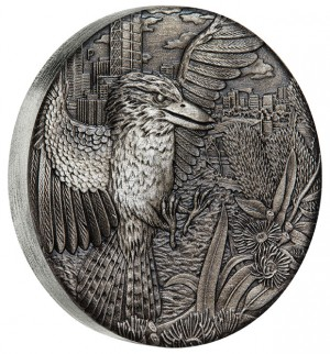 Stříbrná mince Kookaburra 2 oz antique finish