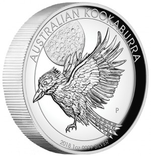 Stříbrná mince Kookaburra 1 oz proof vysoký reliéf 2018