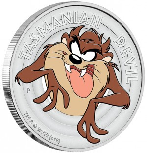 Stříbrná mince Looney Tunes Taz 1/2 oz proof 2018