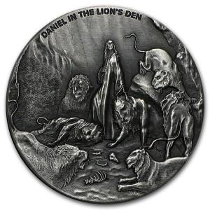 Stříbrná mince Biblická série Daniel ve lví jámě 2 oz 2016