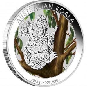 Stříbrná mince Koala 1 oz kolor 2013