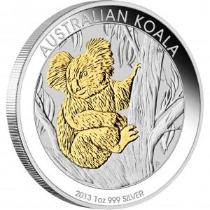 Stříbrná mince Koala 1 oz zlacená 2013