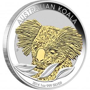Stříbrná mince australská Koala pozlacená 1 oz