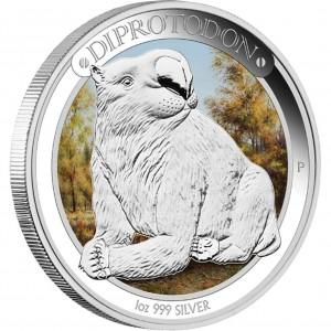 Stříbrná mince Megafauna Diprotodon 1 oz proof kolor 2014