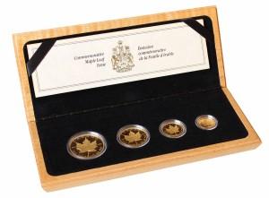 Sada 4 zlatých mincí Maple Leaf 10. výročí 1,85 oz proof 1989