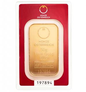 Zlatý investiční slitek 50 g Münze Österreich