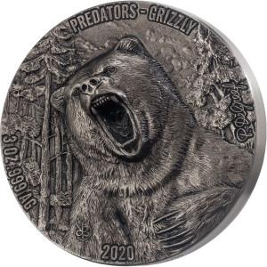 Stříbrná mince Medvěd grizzly 3 oz vysoký reliéf 2020
