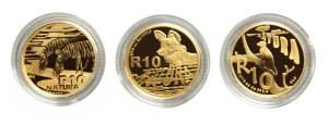 Sada zlatých mincí Natura Zvířecí rodiny 0,3 oz proof 2011 - 2013