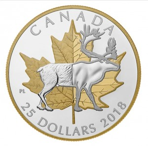 Stříbrná mince Nesmrtelné ikony karibu a javorový list 1 oz proof 2018