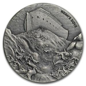 Stříbrná mince Biblická série Noemova holubice 2 oz 2018