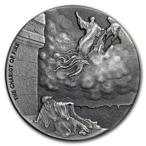 Stříbrná mince Biblická série Ohnivý vůz 2 oz 2018
