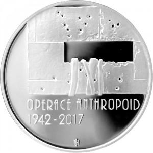Stříbrná mince Operace Anthropoid 75. výročí 2017 b.k.