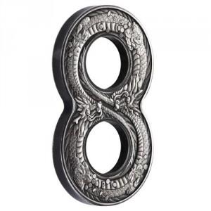 Stříbrná mince Figure Eight Dragon 2 oz antique finish 2018