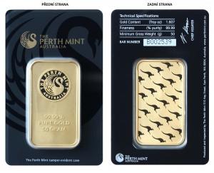 Zlatý investiční slitek 50 g Perth Mint