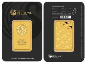Zlatý investiční slitek 10 oz Perth Mint