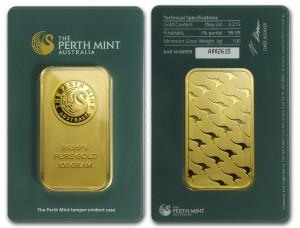 Zlatý investiční slitek 100 g Perth Mint